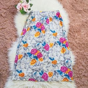 Vintage Y2K 90's Floral Maxi Skirt with Pockets